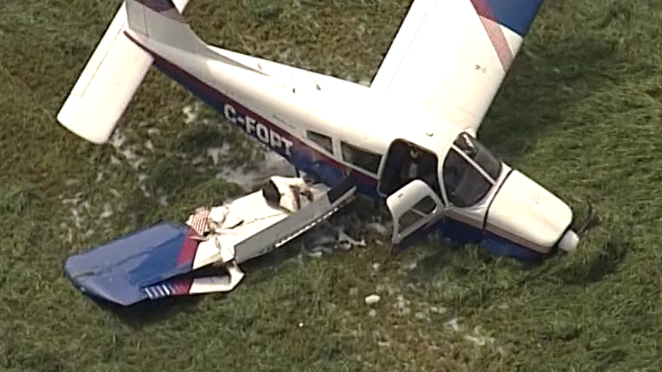 A single-engine plane was forced to crash-land in a Langley, B.C. field on July 12, 2019. (CTV/Chopper 9)