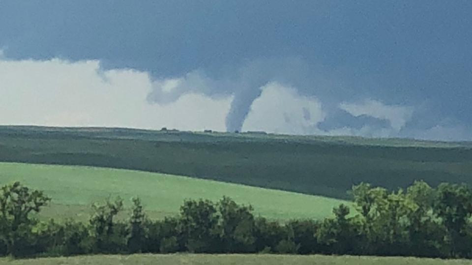 An unconfirmed tornado is shown near Coronach on July 12, 2019 (Courtesy: Craig Eger)