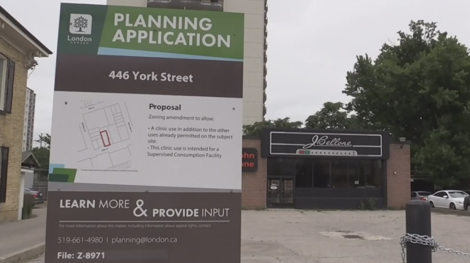 The proposed location of a permanent safe injection site is seen in London, Ont. on Friday, July 12, 2019. (Daryl Newcombe / CTV London)