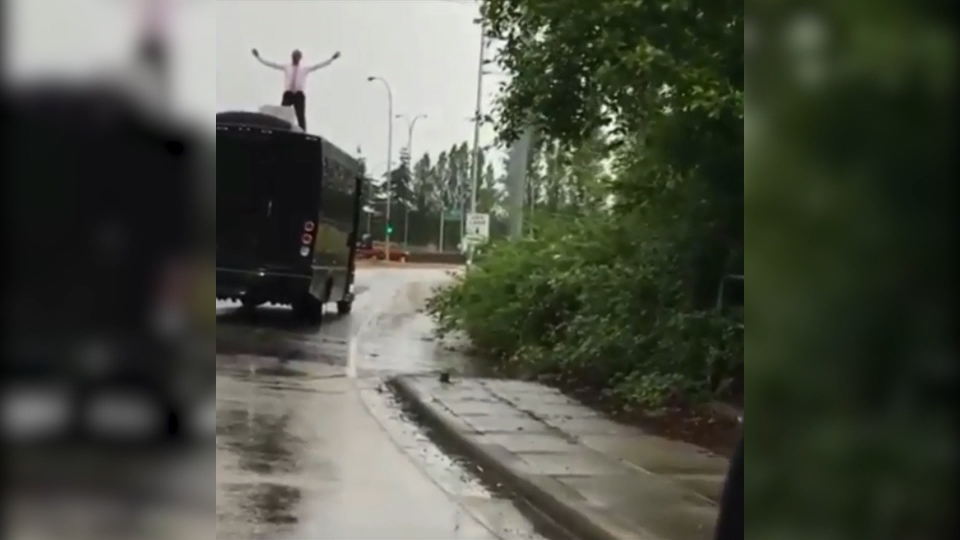 In this video posted online, a man was seen dancing on a party bus as it exited the Steveston Highway.