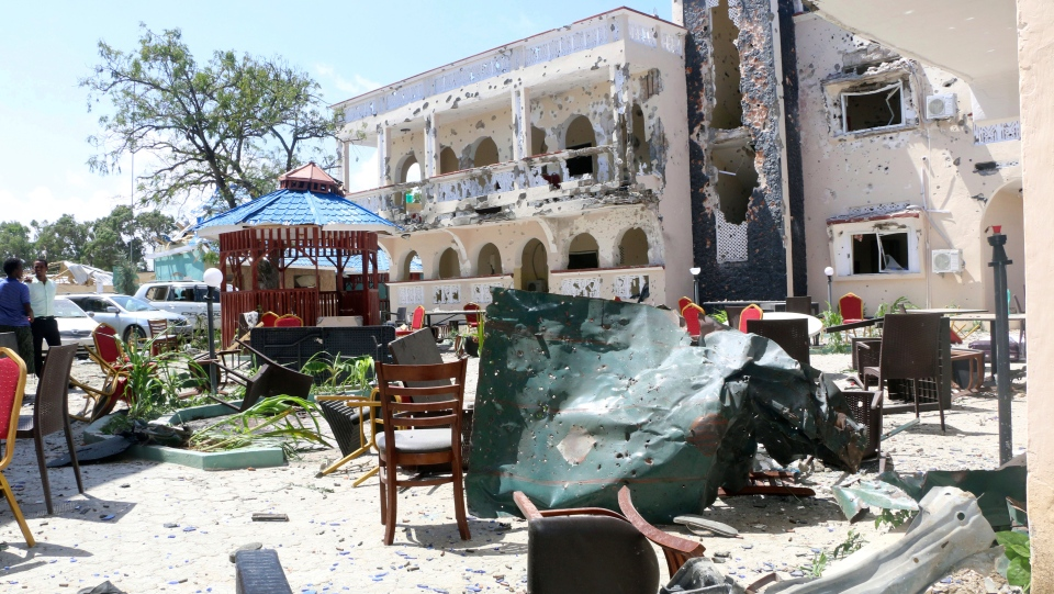 A view of Asasey Hotel after an attack, in Kismayo, Somalia, Saturday July 13, 2019. (AP Photo)