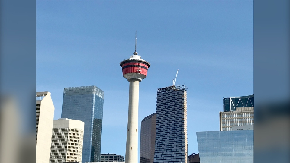 Rescue crews had to remove eight people from an elevator at the Calgary Tower through a scuttle hatch in the ceiling.