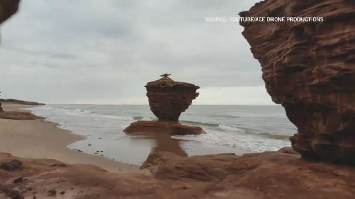 The Ketchabaw family were sightseeing at Tea Cup Rock, a popular tourist spot in Prince Edward Island, last Sunday when 10-year-old Quintin was injured. (Source: YouTube/ACE Drone Productions)