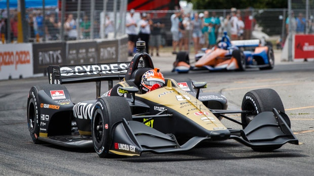 James Hinchcliffe of Canada drives during qualifying at the 2019 Honda Indy Toronto, in Toronto, Saturday, July 13, 2019. (THE CANADIAN PRESS/Mark Blinch)