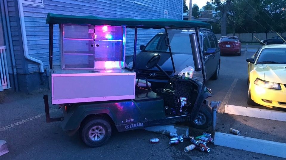A beverage golf cart was found some 30 blocks away after it was stolen from the Riverside Golf Course Friday evening. (Courtesy: Frederick Kroetsch)
