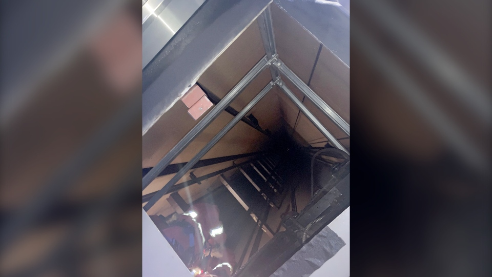 Makayla Lalonde took this photo of an elevator shaft during a rescue at the Calgary Tower. (Makayla Lalonde)