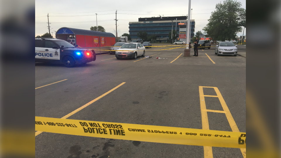 Police tape cordoned of the scene at a Capilano Walmart parking lot Saturday evening.