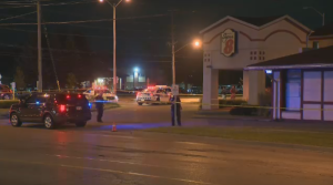 A heavy police presence can be seen at the Super 8 motel in Guelph after a person was shot. (CTV Kitchener)