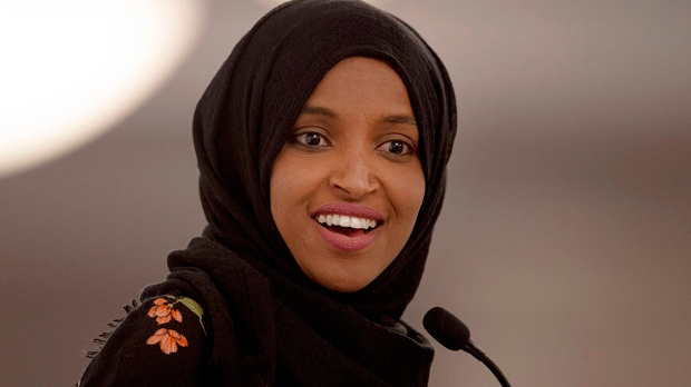 In this May 18, 2019, file photo, Rep. Ilhan Omar, D-Minn., speaks during the fourth annual Citywide Iftar Dinner in Austin, Texas. In tweets Sunday, President Donald Trump portrays the lawmakers as foreign-born troublemakers who should go back to their home countries. In fact, the lawmakers, except one, were born in the U.S. He didn't identify the women but was referring to Reps. Alexandria Ocasio-Cortez, Ilhan Omar, Ayanna Pressley and Rashida Tlaib.  (Nick Wagner/Austin American-Statesman via AP, File)
