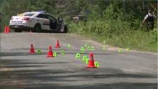 Fatal crash scene in Boiestown, New Brunswick