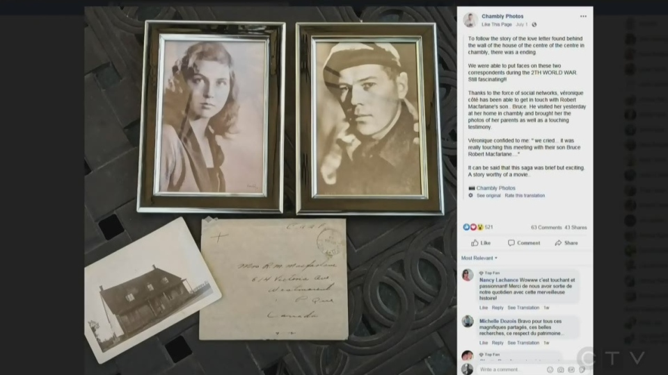 Veronique Coté shared photographs of the love letter on social media and did not take long to track down a surviving relative of Lt. Robert MacFarlane.
