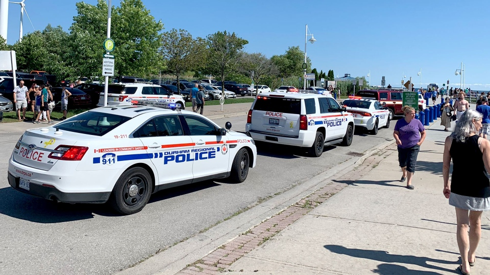 The scene of a reported drowning at Beachfront Park in Pickering on July 14, 2019 is seen. (Twitter / @HockeyNutz22)