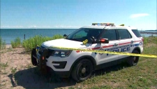 Durham Regional Police are seen investigating a reported drowning at Beachfront Park in Pickering on July 14, 2019.
