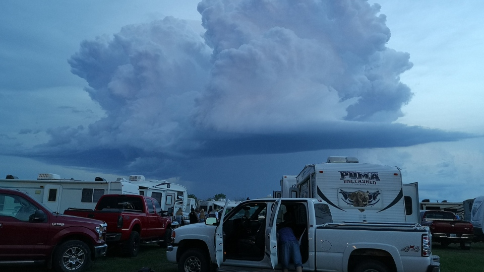 Clouds roll in over campsites at Country Thunder in Craven. (Photo Courtesy: Alicia Mantyka)