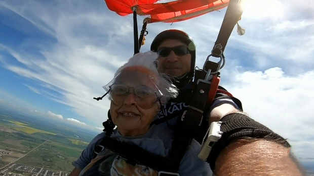 Woman celebrates 90th birthday with skydiving | CTV News