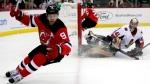 FILE - In this Dec. 21, 2018, file photo, Ottawa Senators goaltender Craig Anderson right, watches as New Jersey Devils left wing Taylor Hall (9) celebrates after scoring a goal during the second period of an NHL hockey game in Newark, N.J. (AP Photo/Julio Cortez, File)