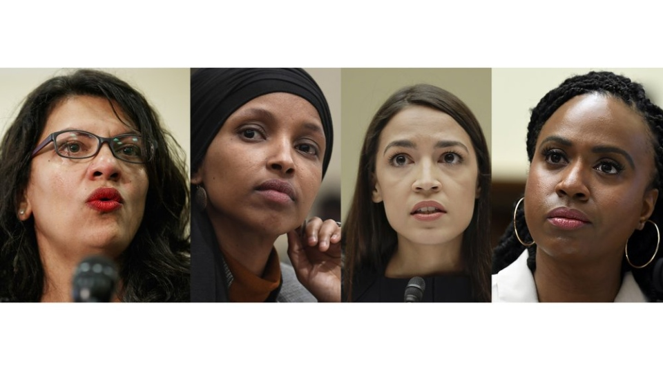 In this combination image from left; Rep. Rashida Tlaib, D-Mich., July 10, 2019, Washington, Rep. Ilhan Omar, D-Minn., March 12, 2019, in Washington, Rep. Alexandria Ocasio-Cortez, D-NY., July 12, 2019, in Washington, and Rep. Ayanna Pressley, D-Mass., July 10, 2019, in Washington. (AP Photo)