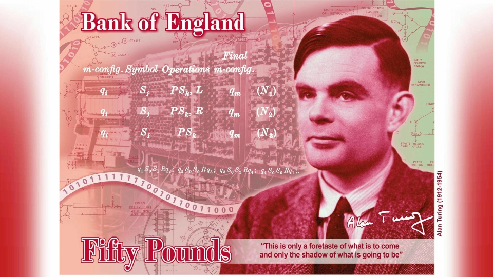 In this undated handout provided by the Band of England on Monday, July 15, 2019, a view of the the concept of the new 50 pound note bearing the image of Second World War code-breaker Alan Turing. (Bank of England via AP)