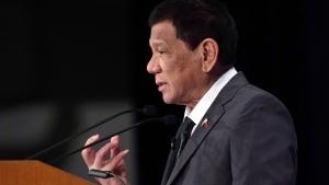 Philippine President Rodrigo Duterte delivers a speech on Friday, May 31, 2019, in Tokyo. (AP Photo/Eugene Hoshiko)