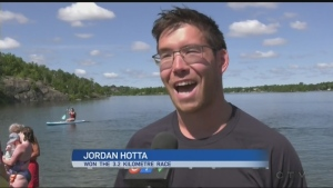 Around 70 swimmers compete in the 32nd annual Ian McCloy Island Swim in memory of a Laurentian Swim Club member.  Ian Campbell reports.