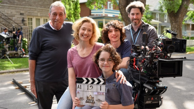 Jason Reitman, right, along with his father Ivan Reitman, left, Carrie Coon, Mckenna Grace and Finn Wolfhard in this photo posted on Jason Reitman's Twitter page on Friday, July 12, 2019. (THE CANADIAN PRESS / HO, Twitter, @JasonReitman)