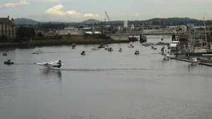 Dozens of commercial fishermen staged a floating protest in Victoria's Inner Harbour and Ogden Point to protest strict new chinook salmon fishery rules. July 15, 2019. (CTV Vancouver Island)