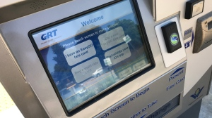Some LRT payment stations, like this one in Uptown Waterloo, experienced intermittent issues. (Dan Lauckner / CTV Kitchener)