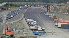 Traffic cameras show major backups on the Trans-Canada Highway at McKenzie Avenue after traffic lights went out. July 15, 2019 (DriveBC)