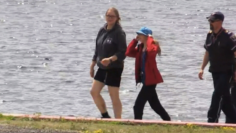 Maya Mirota and Marta Malek are seen after being found safe in Algonquin Park on July 15, 2019. The pair were reported missing Friday night.
