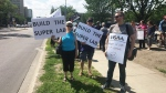 Health workers protest outside the University of Alberta Hospital on July 15, 2019. (Sean McClune/CTV News Edmonton)
