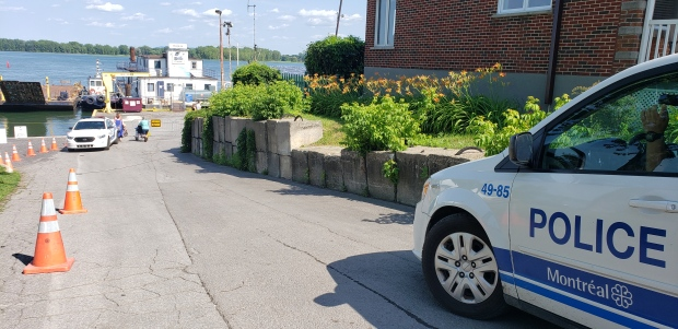 Montreal police are at the scene where a teenager fell into the St. Lawrence River. (image: Amanda Kline / CTV Montreal)