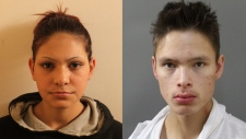 Katrina Tuckwood (left) and Elvis Mustooch (right) are being sought by RCMP for attempted murder.