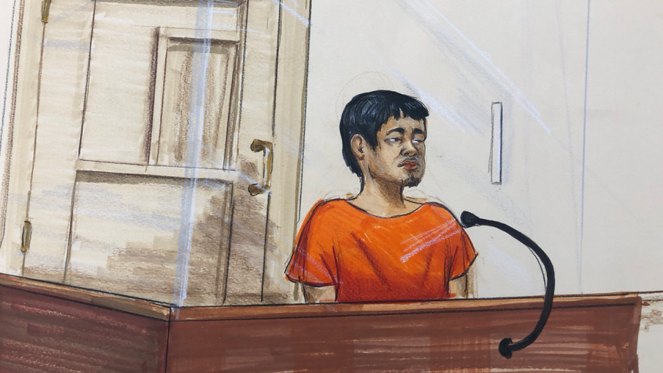 Pee Lee Pi is seen in a court sketch from a brief appearance in court on July 15, 2019.