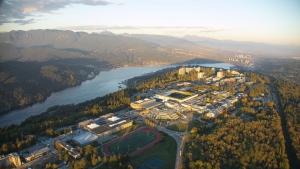 Simon Fraser University is seen in the photo taken from CTV News Vancouver's Chopper 9 in June 2019. (Pete Cline)