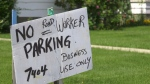 An Edmonton man put a no parking sign in front of his home to stop construction workers from constantly parking there.