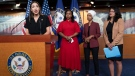 From left, Rep. Alexandria Ocasio-Cortez, D-N.Y., Rep. Ayanna Pressley, D-Mass., Rep. Ilhan Omar, D-Minn., and Rep. Rashida Tlaib, D-Mich., respond to remarks by U.S. President Donald Trump at the Capitol in Washington, Monday, July 15, 2019. (AP Photo/J. Scott Applewhite)