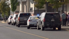The scene outside Nanaimo's Woodgrove Centre Monday evening. (CTV Vancouver Island)