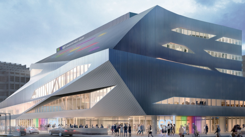 Edmonton's Stanley A. Milner Library is still seven months from opening, but is already garnering some unsavoury comparisons to battleships, tanks and dumpsters for its angular architecture. (Edmonton Public Library)