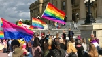Dozens protested Bill 8 at the Alberta legislature on Monday, July 15, 2019.