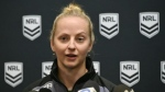 Rugby League referee Belinda Sharpe speaks to the media in Sydney on July 16, 2019, after being named as the first female referee for a National Rugby League (NRL) game between the Brisbane Broncos and Canterbury Bulldogs. (AFP)