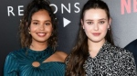 Katherine Langford (R, with Alisha Boe) plays teen Hannah Baker who takes her own life in '13 Reasons Why.' (AFP)