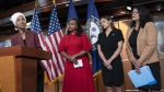 From left, Rep. Ilhan Omar, D-Minn., Rep. Ayanna Pressley, D-Mass., Rep. Alexandria Ocasio-Cortez, D-N.Y., and Rep. Rashida Tlaib, D-Mich., at the Capitol in Washington, on July 15, 2019. (J. Scott Applewhite / AP)