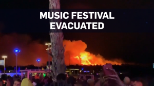 Caught on cam: Massive fire at music festival