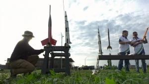 Members of the Edmonton Rocketry Club prepare to launch model rockets in honour of the 50th anniversary of Apollo 11. (Evan Klippenstein/CTV News Edmonton)