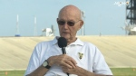 Astronaut Michael Collins returned to launch pad where the historic Apollo 11 mission began in 1969. (NASA TV)