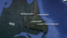 This map shows where an Air Saguenay aircraft is believed to have crashed in northern Labrador.