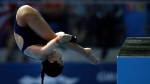 Meaghan Benfeito of Canada competes in the semifinals of women's 10-meter platform diving at the World Swimming Championships in Gwangju, South Korea, Tuesday, July 16, 2019. (AP Photo/Mark Schiefelbein)