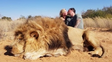 Couple with dead lion