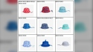 A few of the Joe Fresh sun hats for babies that the Canadian government is recalling. (Source: Government of Canada_