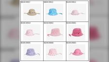 Josh Fresh recalled sun hats